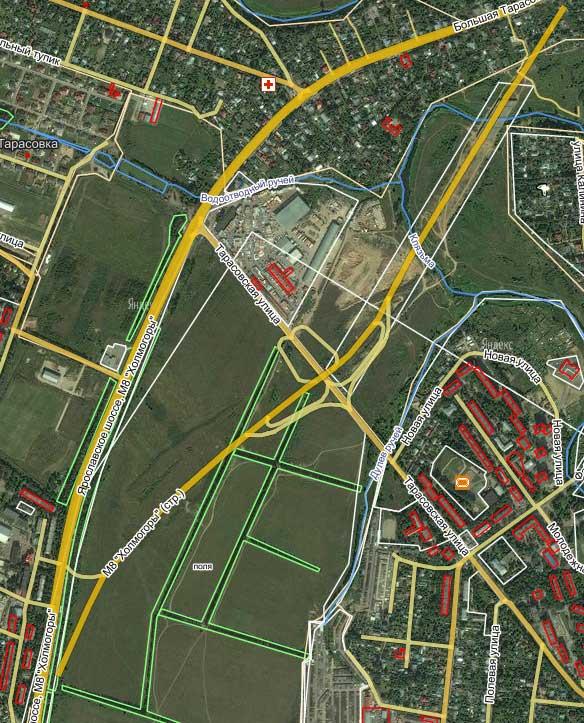 Схема объезда Тарасовки при реконструции Ярославского шоссе.