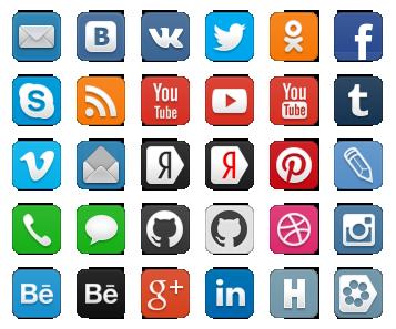 Иконки социальныйх сетей, png на прозрачном фоне.